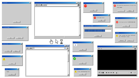 Old user interface windows. Retro browser and error message popup Ilustracja