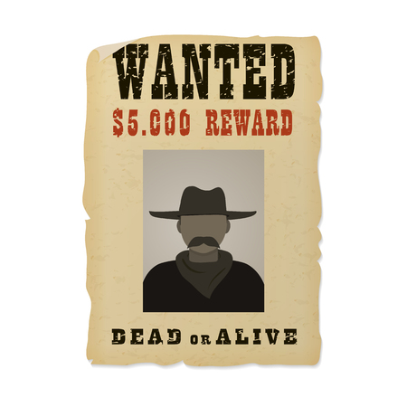 Wanted dead or alive banner with man silhouette in a hat and with mustache