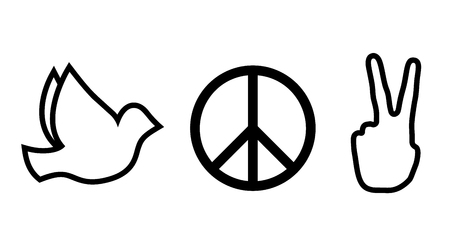 Peace and love signs. Hippie black line icons Illustration