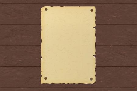 Ancienne affiche en papier brun déchiré clouée sur un mur en bois