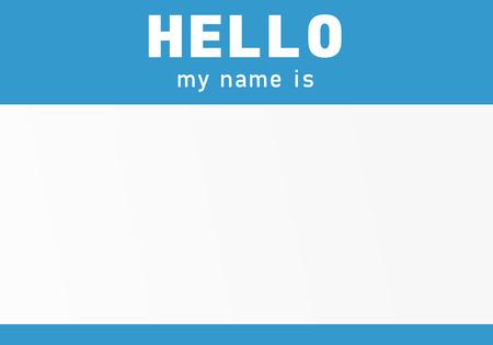 Etiqueta de nombre azul. Hola mi nombre es - pegatina Ilustración de vector