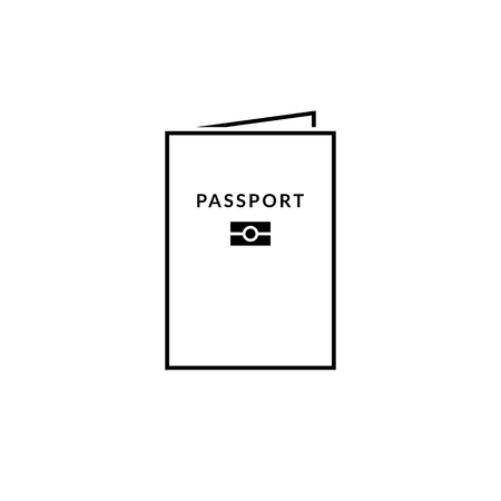 Biometric passport icon. State citizen id sign