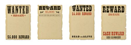 Wanted dead or alive blank poster template with grunge textured typography and ripped vintage faded yellow paper isolated on white background