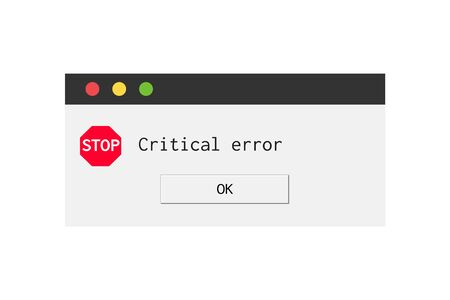 Modern error message dialog box. System fail window Illustration