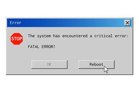 Okno dialogowe błędu krytycznego. Komunikat o awarii systemu w stylu retro
