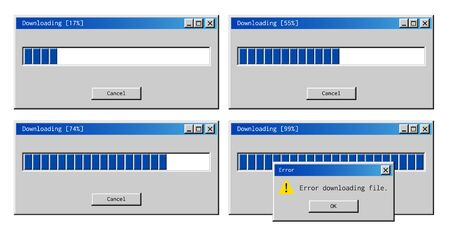 Download error alert. Common failure of a retro operating system