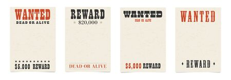 Wanted dead or alive blank poster template with textured old paper