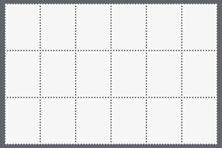 Hoja perforada de sellos postales. Plantilla de marcas en blanco para postales