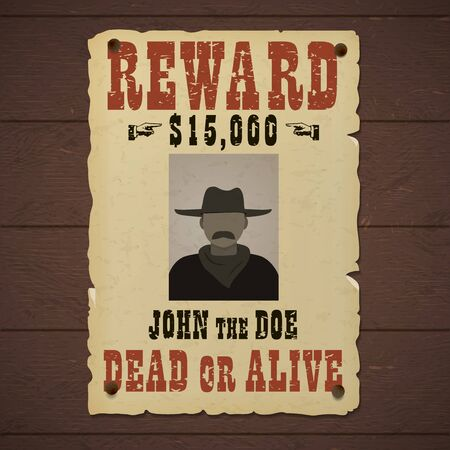 Reward poster. Wanted dead or alive banner with man silhouette in a hat and with mustache Standard-Bild - 126117162