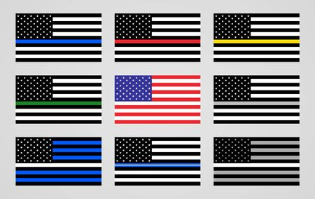 National flag of the USA and thin line foundations flags Иллюстрация