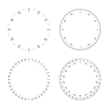 Rapporteur circulaire avec cadran et directions du vent. Largeur de trait modifiable