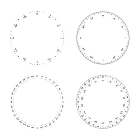Circular protractor with dial and wind directions. Editable stroke width
