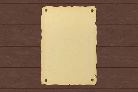 Old ripped brown paper poster nailed to a wooden wall