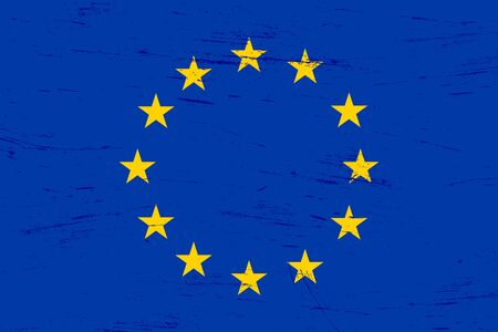 Old grunge textured European Union flag with dirt and scratches Illustration