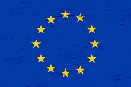 Vecchia bandiera dell'Unione europea con texture grunge con sporco e graffi