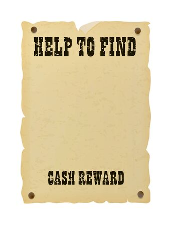 Nailed old ripped paper poster. Vintage western missing banner