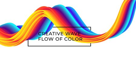 Liquid wavy colorful flow background with rainbow colored fluid lines. Çizim