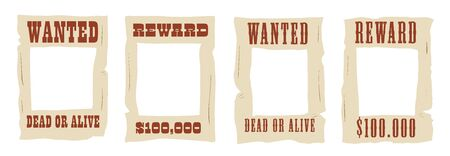 Wanted dead or alive frame stickers with a hole for a photo Vecteurs
