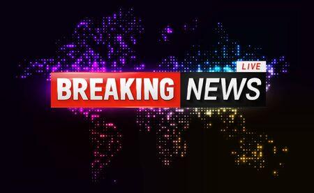 Breaking news banner on glowing dotted world map. Heat map background of the world telecommunication and technology usage Çizim