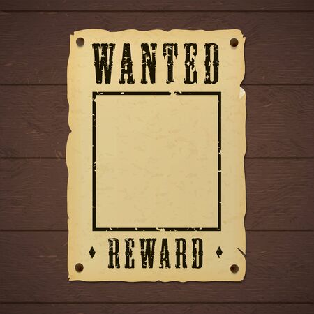 Blank old wanted banner template nailed to a wooden wall.