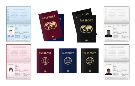 Biometric passport of citizen. African, American, Afro-American European and other nationalities ID