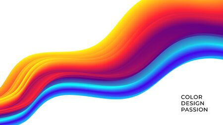 Colorful wavy flows of a fluid lines of a liquid shapes with a smooth splash of color. Eps10 Çizim