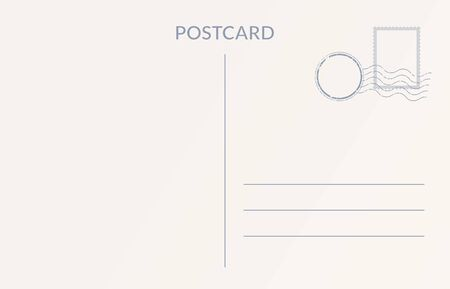 Empty postcard template. Design of blank post card back
