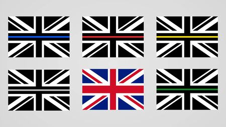 Union Jack flag of the United Kingdom and thin line sign flags