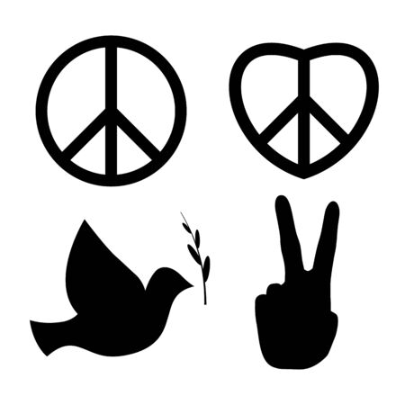 Peace signs: dove, v hand, nuclear disarmament and heart of love