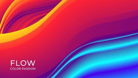 Abstract background with a fluid gradient color flow and motion of a wavy liquid lines. Eps10