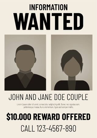 Information wanted poster with male and female flat avatars
