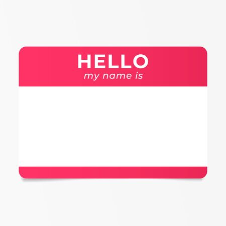 Red name tag sticker. Speed dating ice breaker.