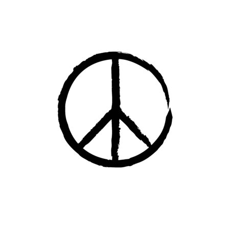 Round textured hippie peace sign for printing Archivio Fotografico - 128027179