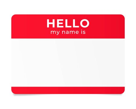 Red name tag. Hello my name is - label Ilustração