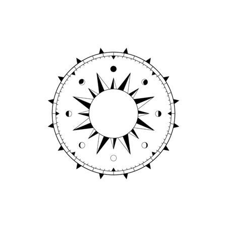 Boussole de navigation avec rose des vents, cadran solaire et calendrier lunaire