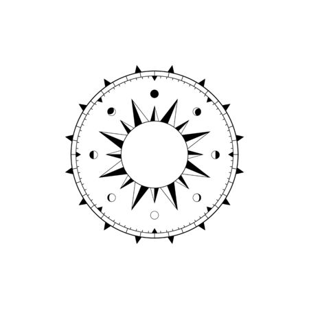 Navigational compass face with rose of winds, sundial and lunar calendar Çizim