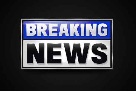Breaking news banner. Hot news announcement for the television info shows. Çizim