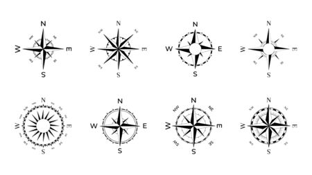 Compass rose of winds with directional dials for vintage and modern navigation devices