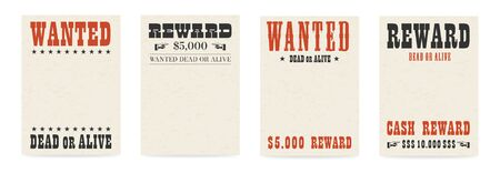 Blank reward poster template. Wanted dead or alive banner with textured old paper