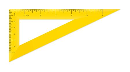 Plastic triangle with metric and imperial units ruler scale Archivio Fotografico - 128027235