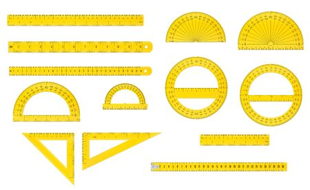 School set of plastic measure ruler, protractor and triangle in both imperial and metric units.
