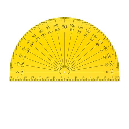 Plastic circular protractor with a ruler in metric units.