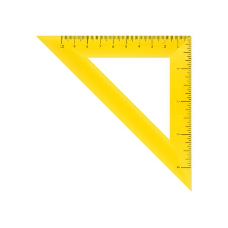 Plastic isosceles triangle with metric and imperial units ruler scale Reklamní fotografie - 128027239