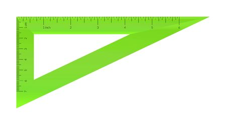 Plastic isosceles triangle with metric and imperial units ruler scale Archivio Fotografico - 129341018