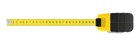 Yellow carpenter measuring tape with a metric units scale