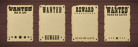 Wanted dead or alive poster with grunge textured typography and ripped vintage gray paper nailed to a wooden background