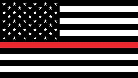 USA flag with thin a red line - a sign to honor and respect american firefighters Ilustração