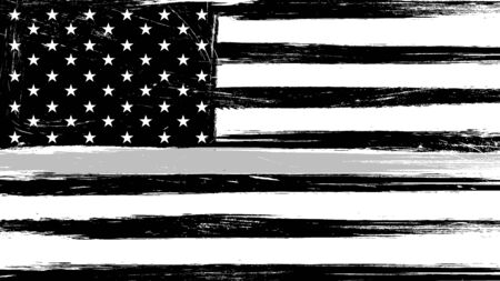Grunge USA flag with a thin gray or silver - a sign to honor and respect american correctional officers, prison guards and jailers 免版税图像 - 129341090