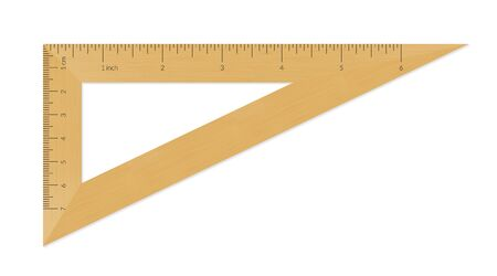 Wooden triangle with metric and imperial units ruler scale Archivio Fotografico - 129341077
