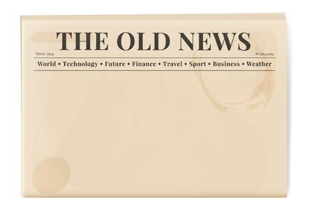 Blank template of a retro newspaper. Folded cover page of a news magazine